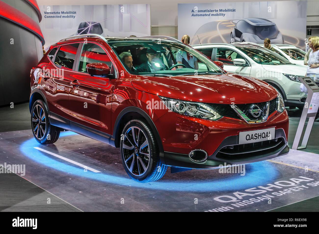 FRANKFURT - SEPT 2015: Nissan Qashqai presented at IAA International Motor Show on September 20, 2015 in Frankfurt, Germany - Stock Image