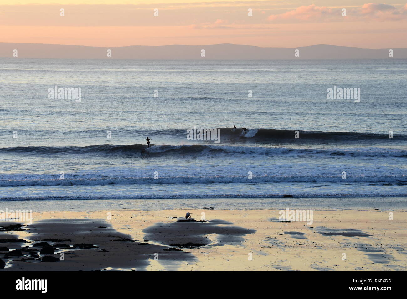 Two surfers one on each of 2 set  waves are riding at the same time on a perfect reef break in South Wales. Stock Photo