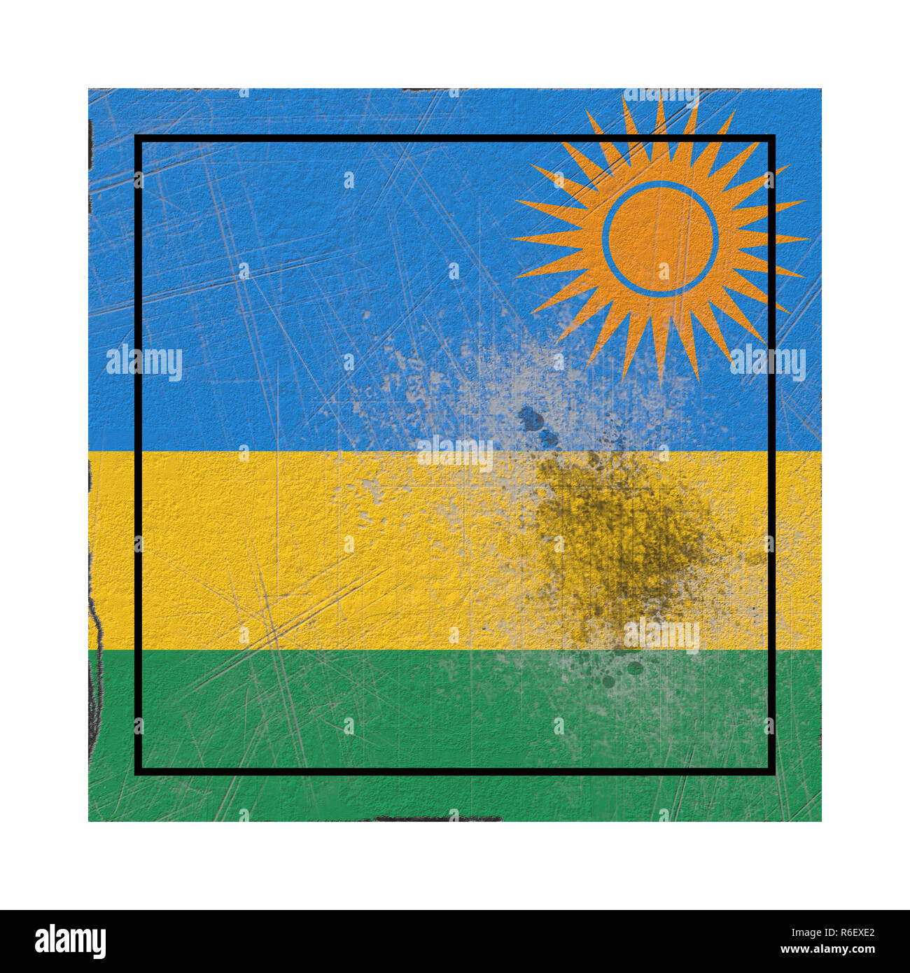 3d rendering of an old Rwanda flag in a concrete square - Stock Image