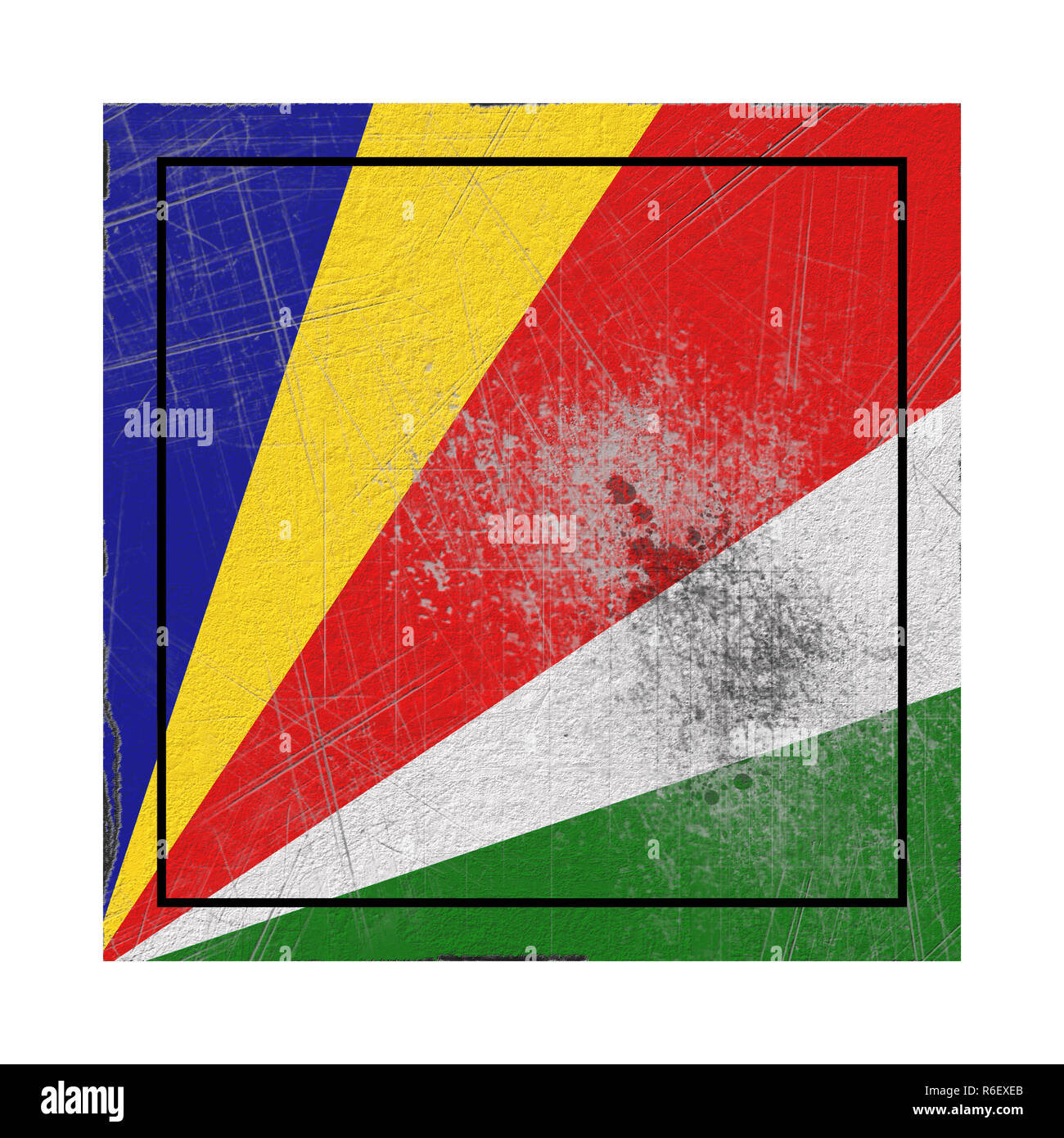 3d rendering of an old Seychelles flag in a concrete square - Stock Image