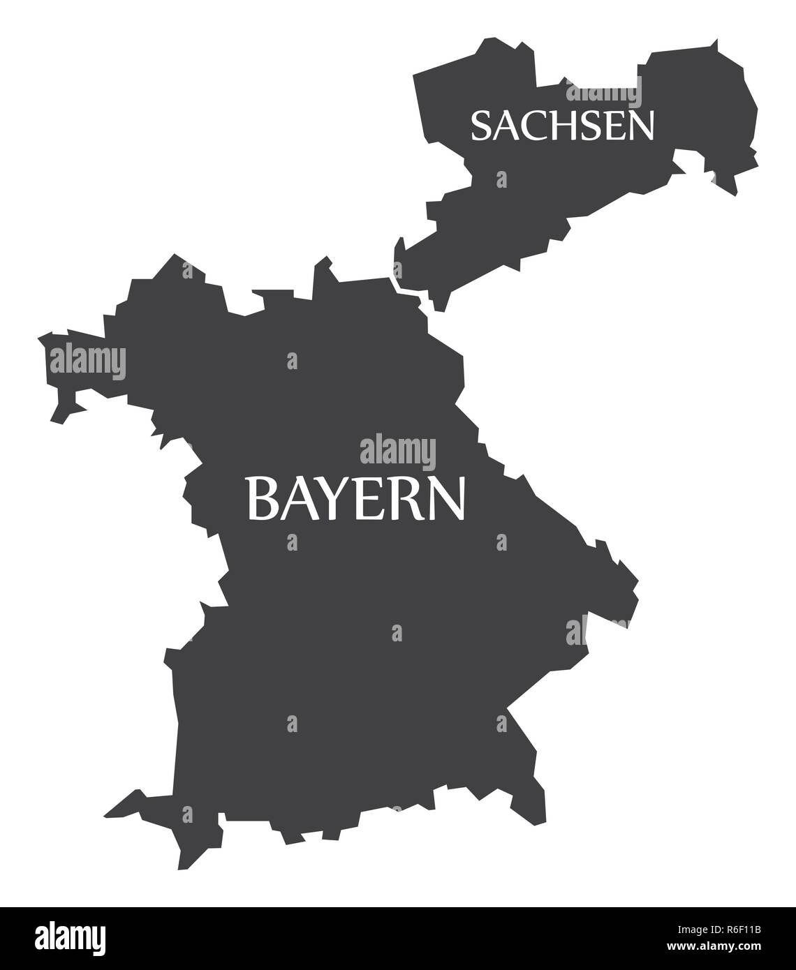 Bavaria - Saxony federal states map of Germany black with titles ...