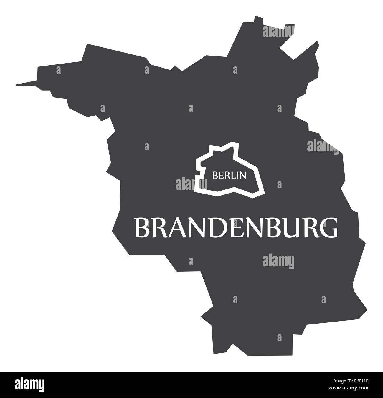Berlin - Brandenburg federal states map of Germany black with titles - Stock Image