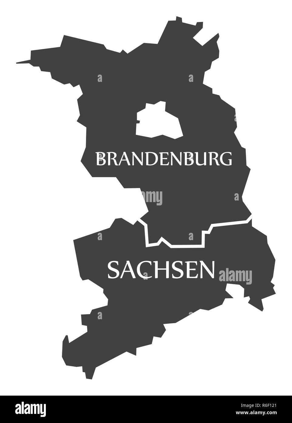 Brandenburg - Saxony federal states map of Germany black with titles - Stock Image