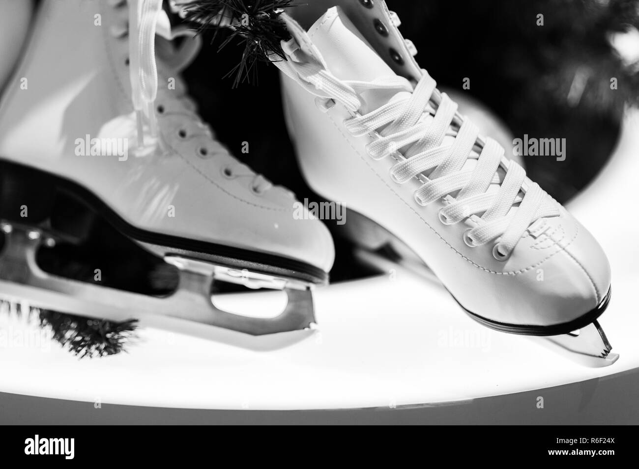 Black and white photo of skates, branches of spruce - Stock Image