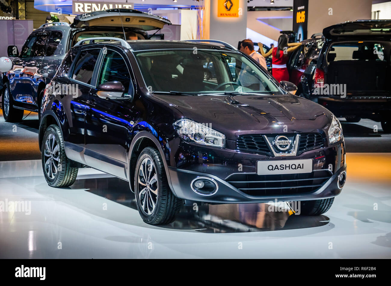 MOSCOW, RUSSIA - AUG 2012: NISSAN QASHQAI presented as world premiere at the 16th MIAS (Moscow International Automobile Salon) on August 30, 2012 in M - Stock Image