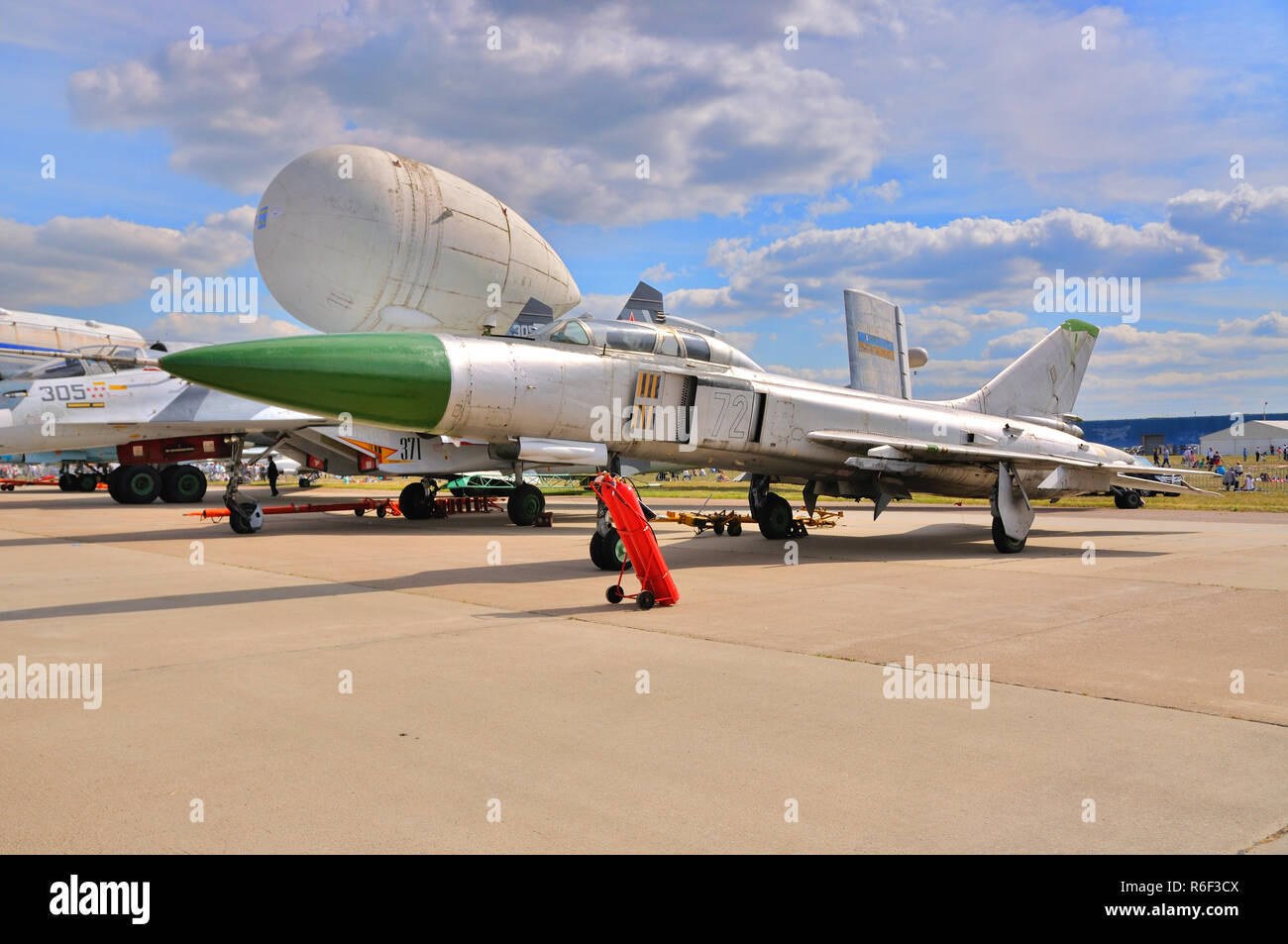 MOSCOW, RUSSIA - AUG 2015: supersonic interceptor Su-15 Flagon presented at the 12th MAKS-2015 International Aviation and Space Show on August 28, 201 Stock Photo