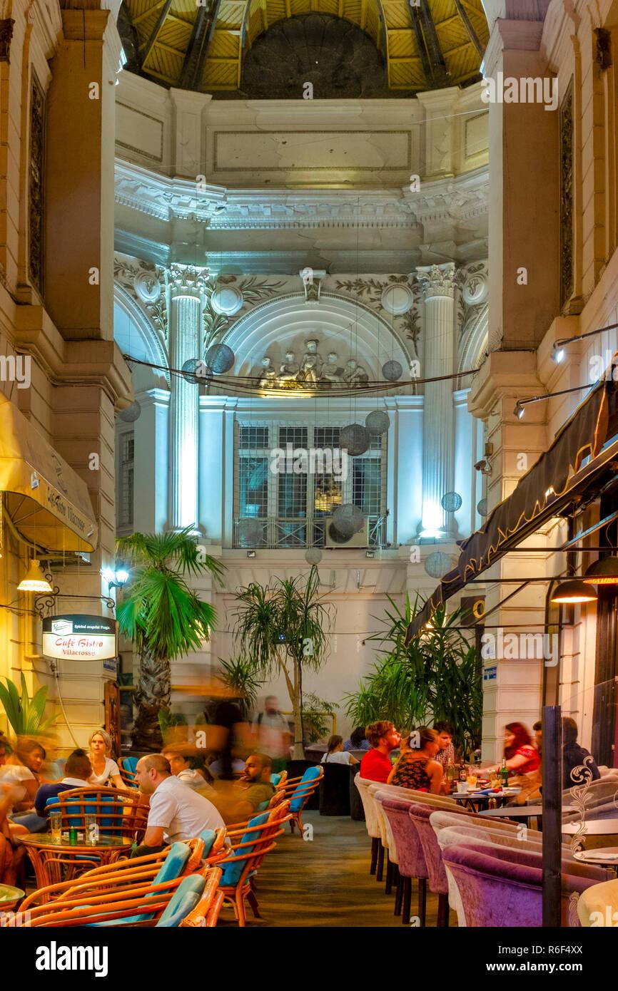 Pasajul Macca-Vilacrosse, an arcaded street in central Bucharest, Romania - Stock Image