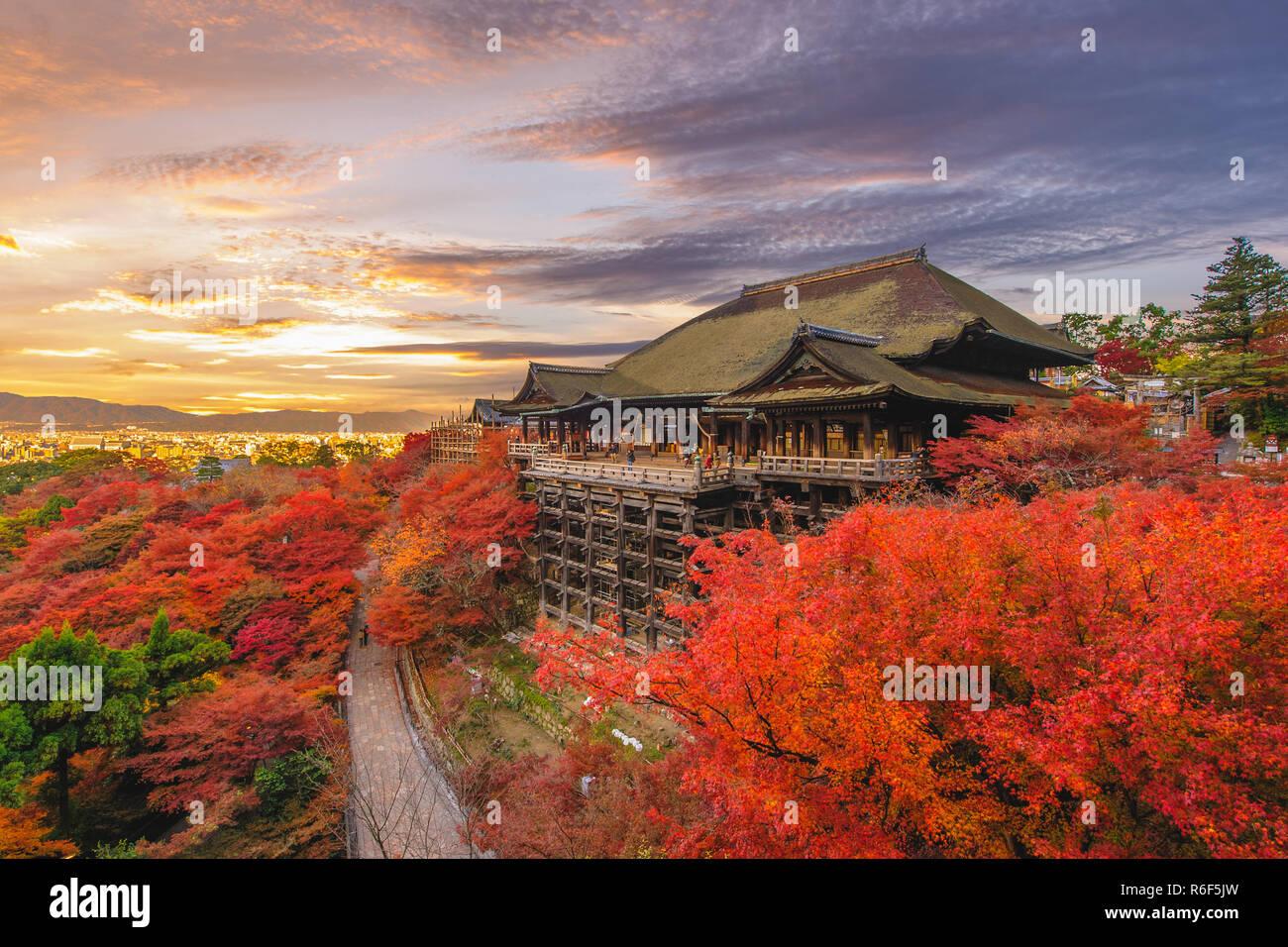 Kiyomizu-dera stage at kyoto, japan in autumn - Stock Image