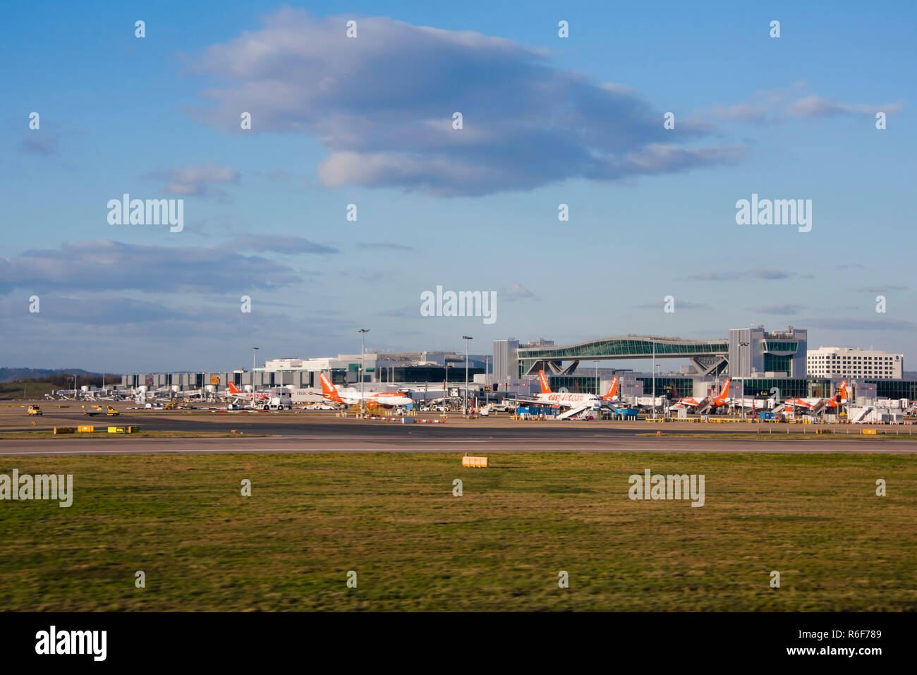 Horizontal view of Gatwick airport. - Stock Image