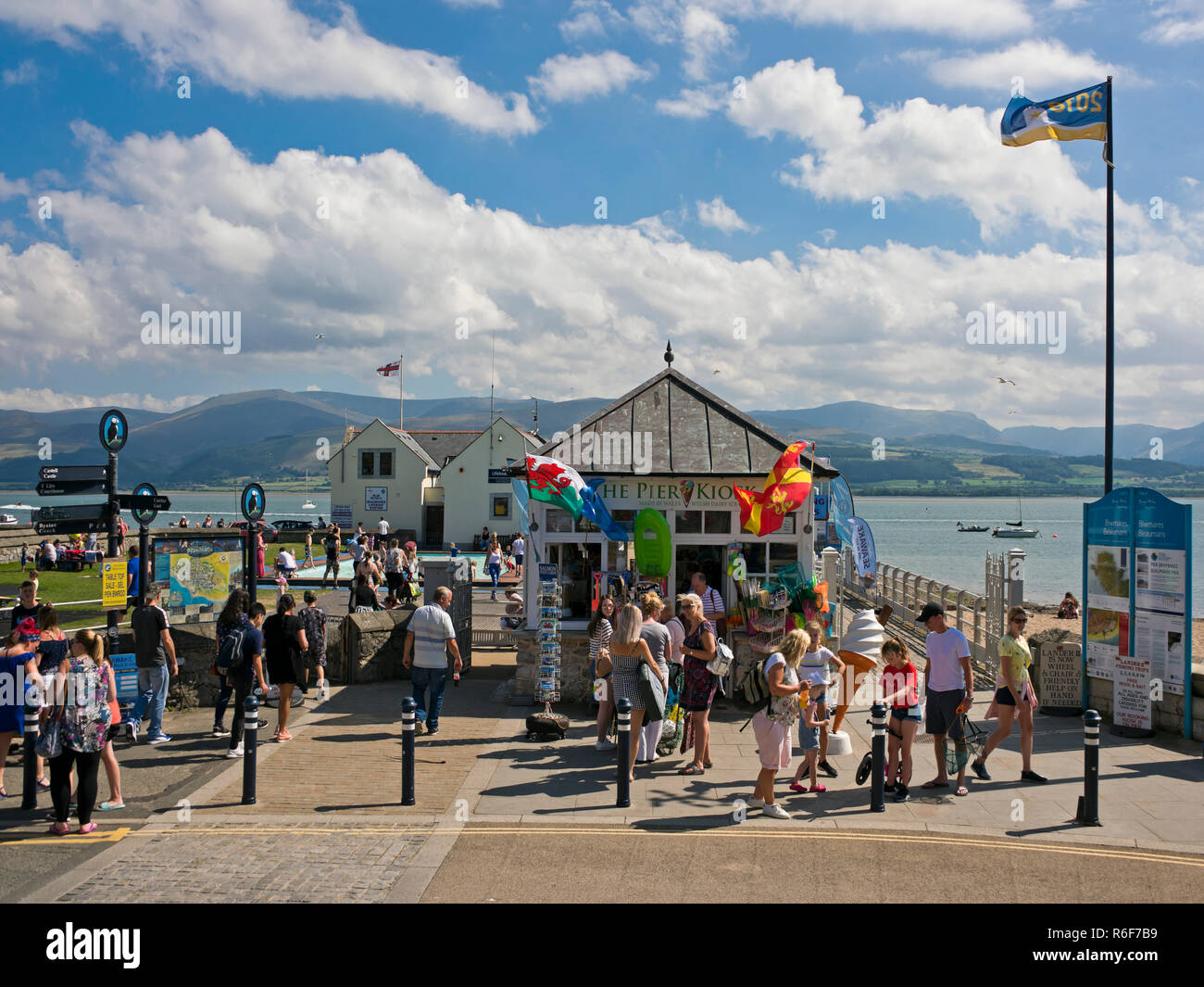 Horizontal view of the pier in Beaumaris on Anglesey. - Stock Photo