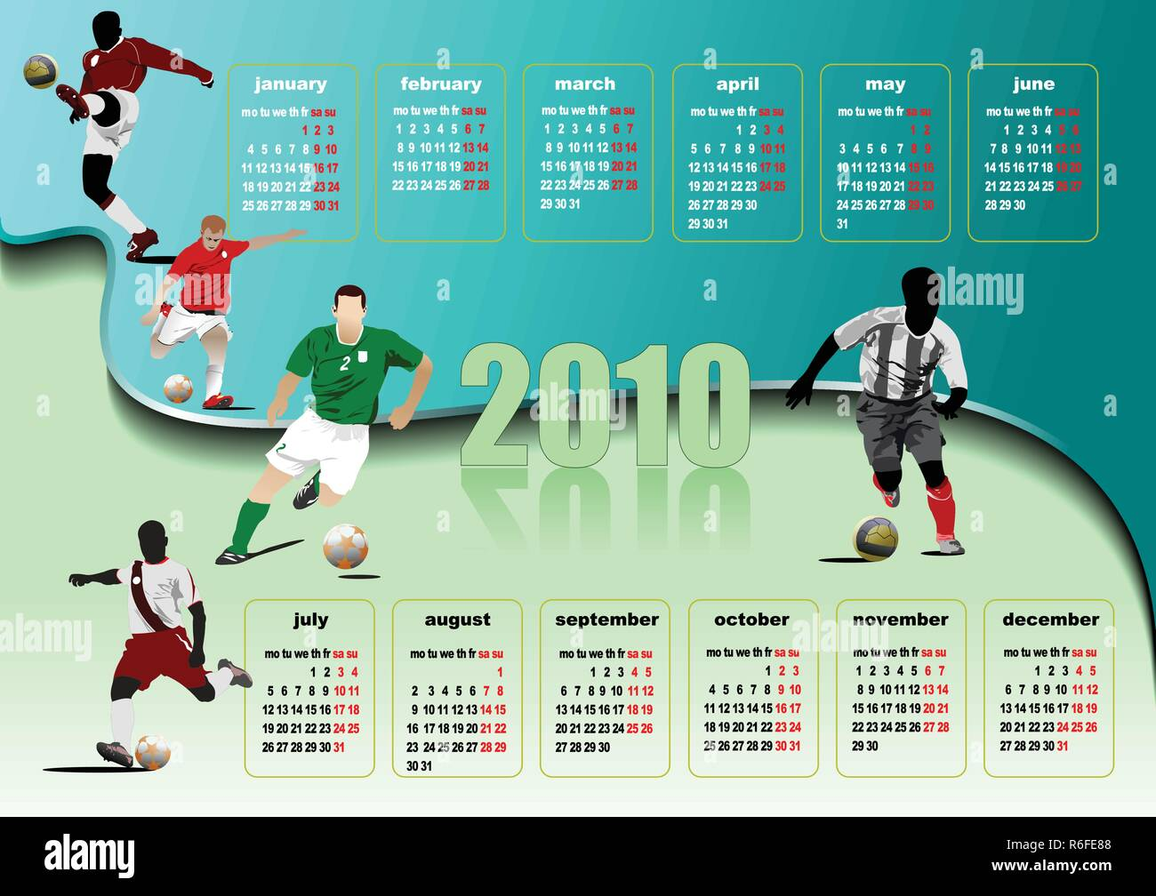 Calendar 2010 with soccer players image. Months. Vector illustration Stock Vector