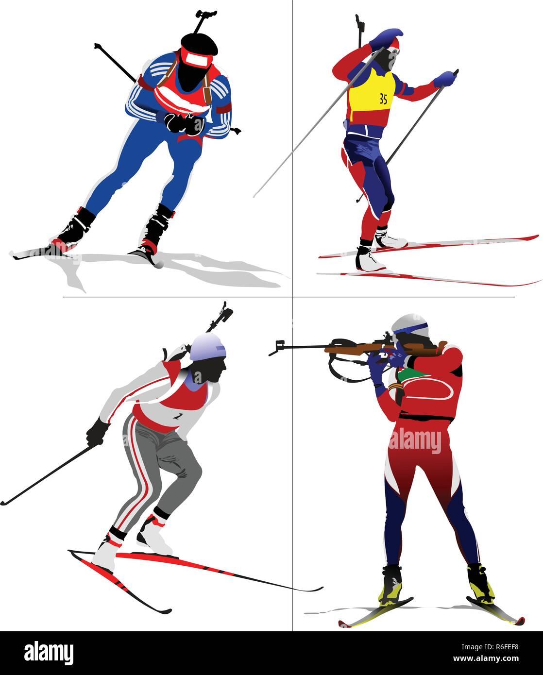 Four biathlon runner colored silhouettes. Vector illustration - Stock Vector