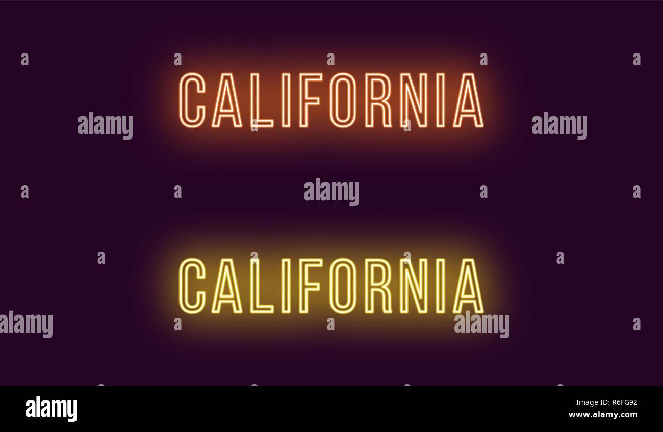 Neon name of California state in USA. Vector text of California, Neon inscription with backlight in Thin style, orange and yellow colors. Isolated glo Stock Vector