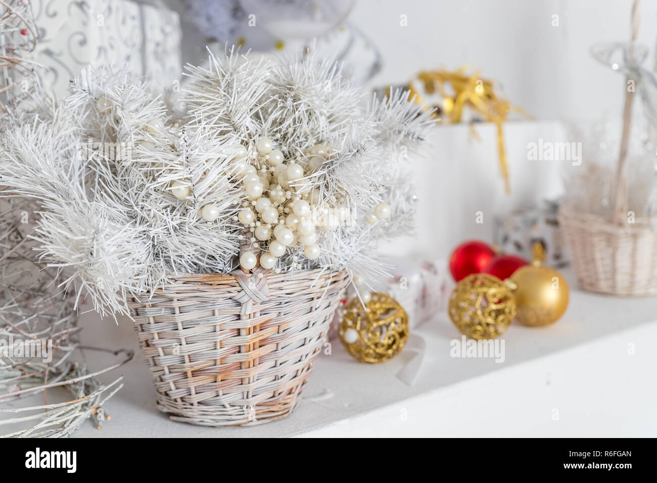 Christmas decoration in wicker basket.Colorful decorative ...