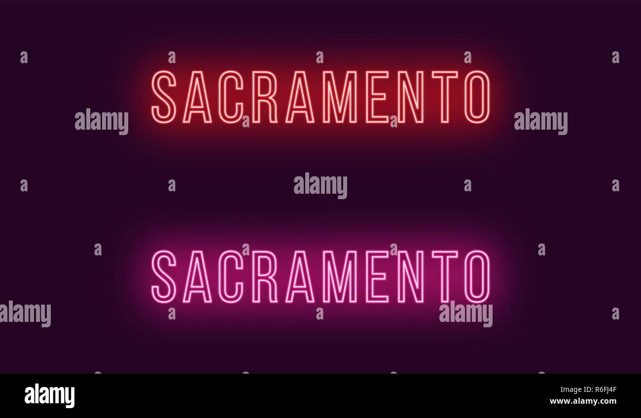 Neon name of Sacramento city in USA. Vector text of Sacramento, Neon inscription with backlight in Thin style, red and pink colors. Isolated glowing t Stock Vector