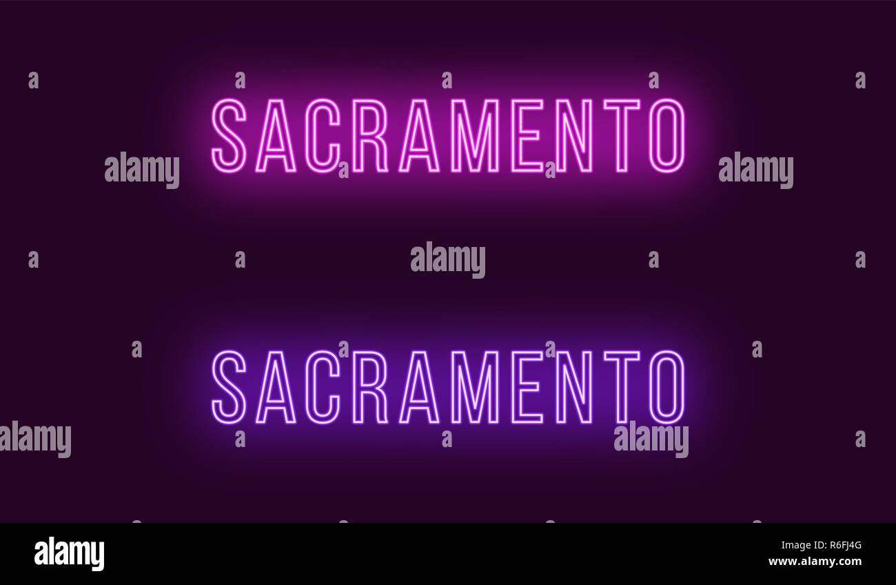Neon name of Sacramento city in USA. Vector text of Sacramento, Neon inscription with backlight in Thin style, purple and violet colors. Isolated glow Stock Vector