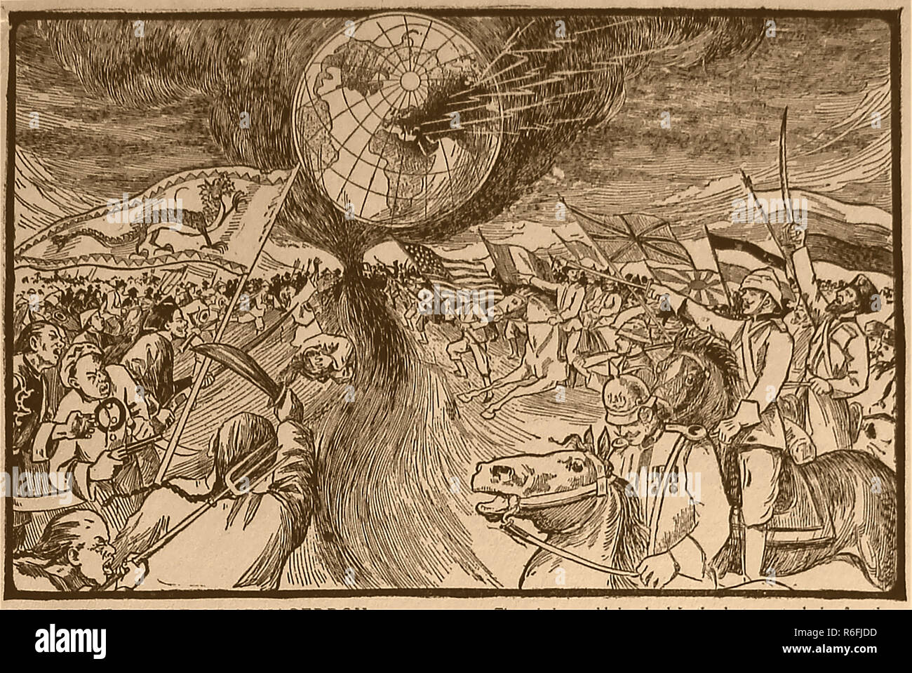 A 1910 illustration showing a predictive view of the Great Battle of Armageddon with reference to the passage in the Christian Bible (Revelations 16:16) - Stock Image