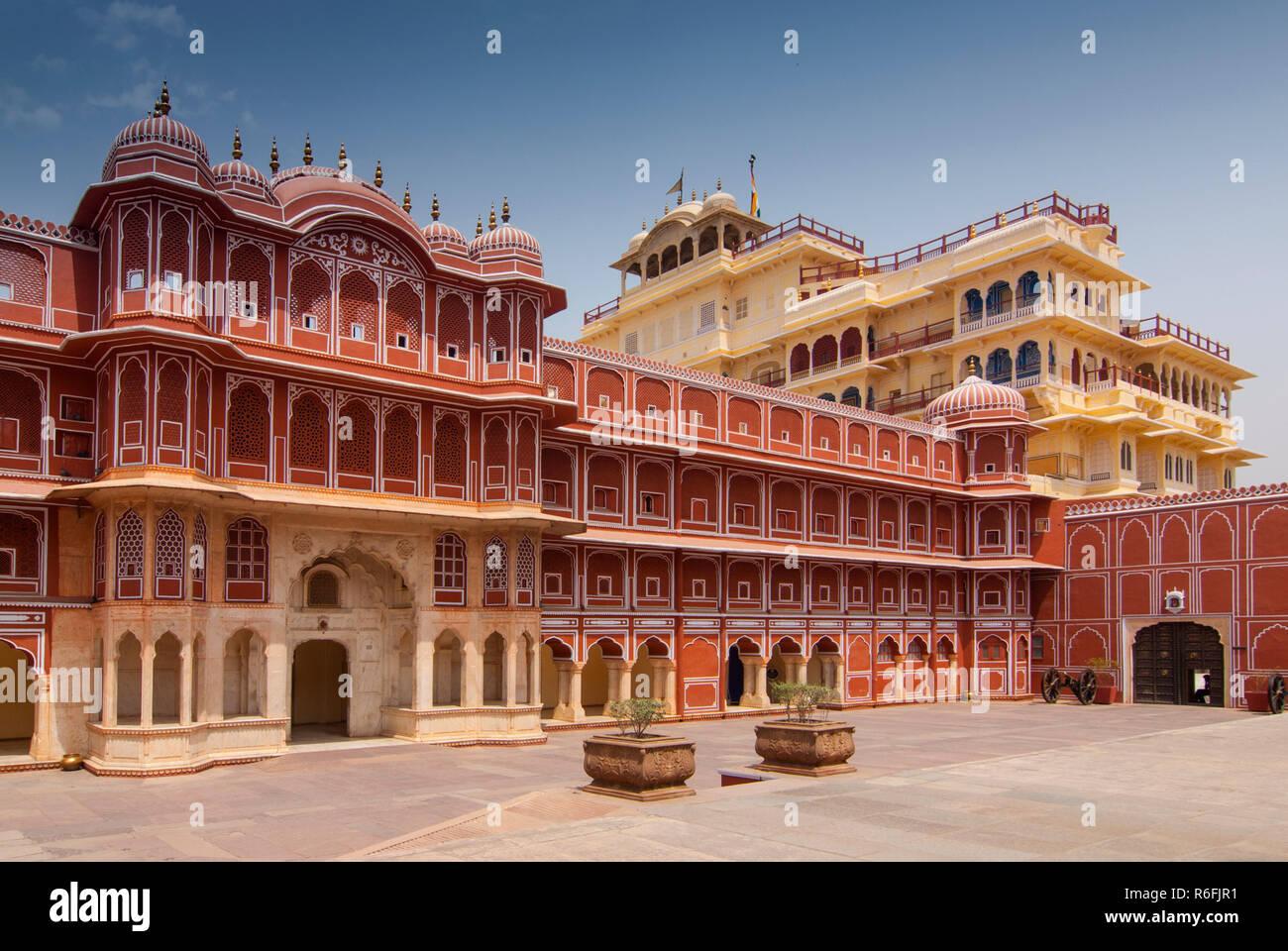 Chandra Mahal The Royal Residence At The City Palace, Jaipur, Rajasthan, India - Stock Image