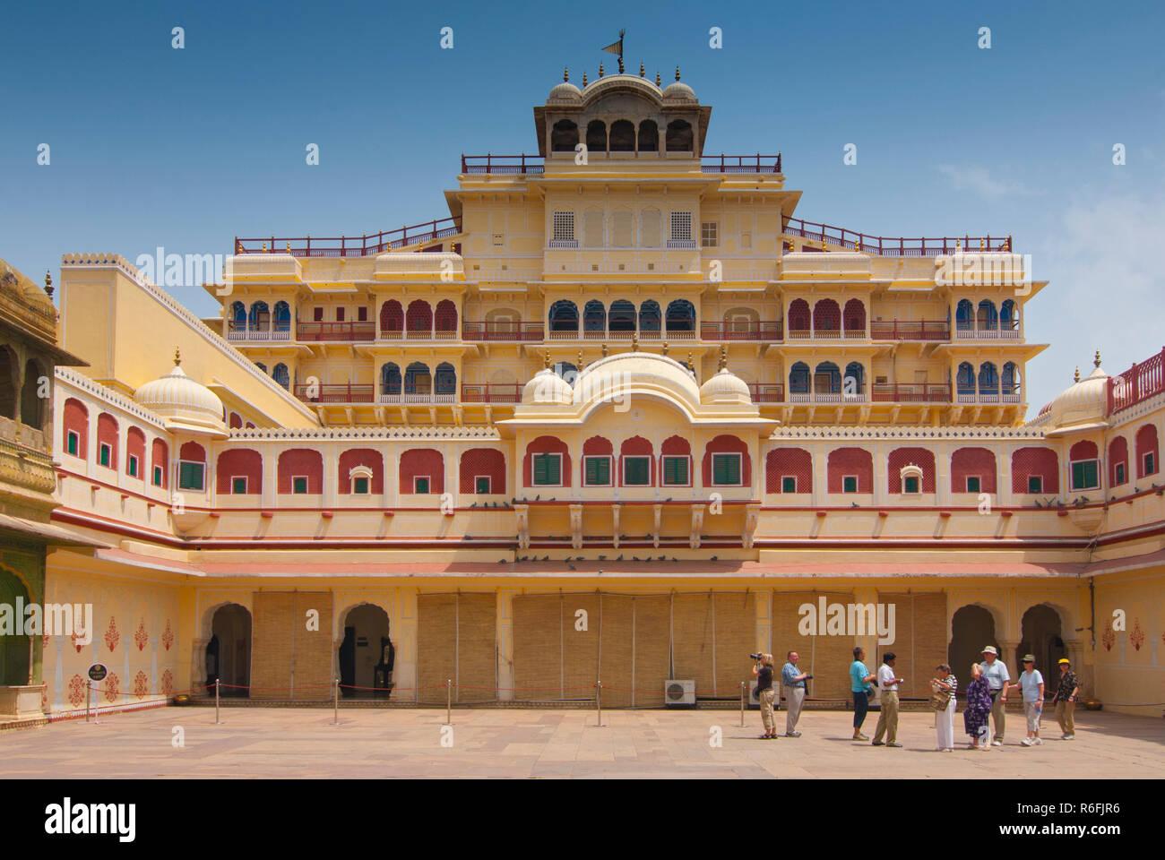 Chandra Mahal Seen From Pitam Niwas Chowk, Jaipur City Palace, Rajasthan, India - Stock Image