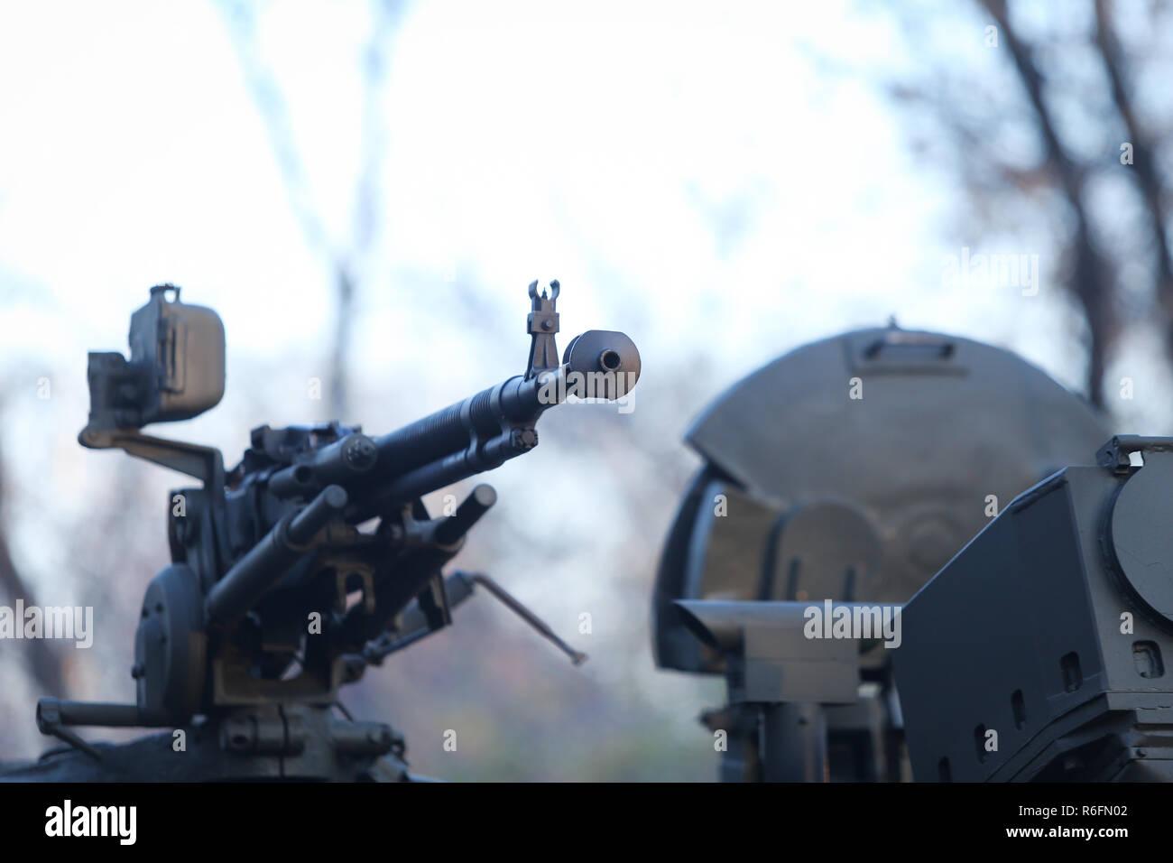 BUCHAREST, ROMANIA - December 1, 2018: 50 cal machine gun mounted on a Humvee military vehicle - Stock Image