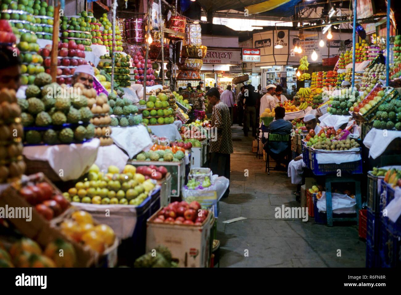 Fruit stall at crawford market, bombay mumbai, maharashtra, india - Stock Image