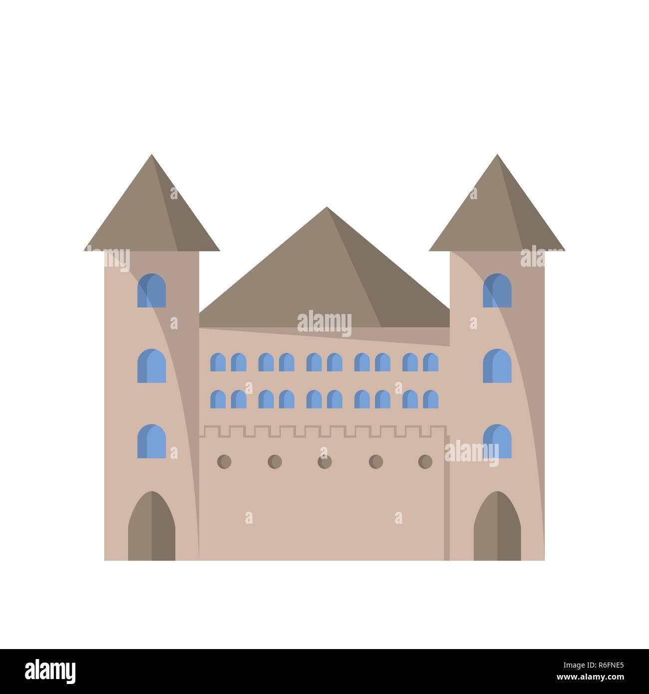 Castle flat icon. Vector illustration. Architecture and design - Stock Vector