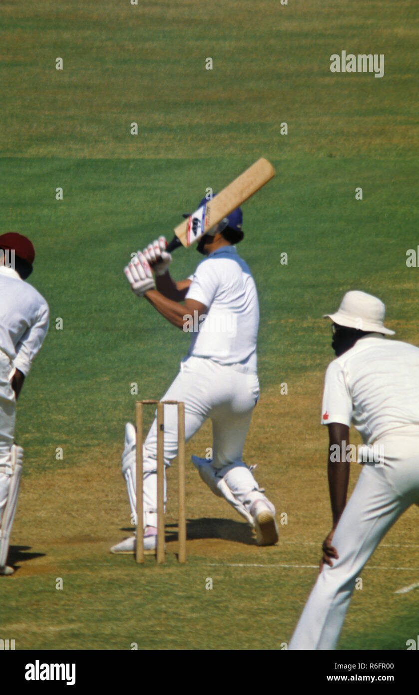 India v/s West Indies cricket test match batting Roger Binny fielding Clive Lloyd slips and wicketkeeper Dujon in Bombay India 1983 NOMR - Stock Image