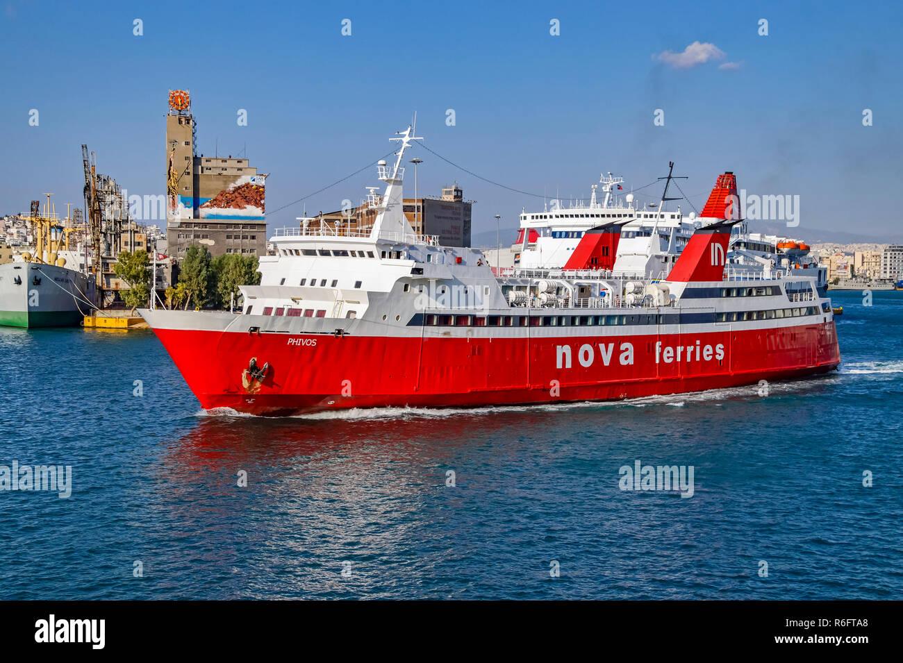 Nova ferries phivos in port of Piraeus Athens Greece Europe - Stock Image