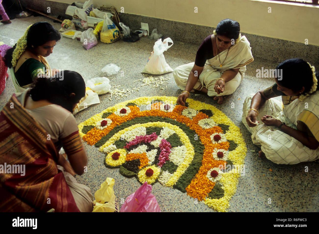 pookalam, floral design, onam festival, kerala, india - Stock Image