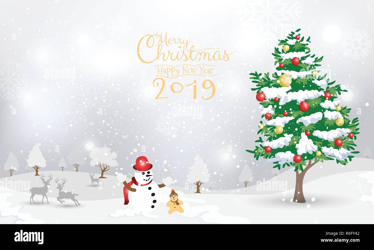 Christmas Background Design.Snowman And Christmas Tree On Snow Background Design For