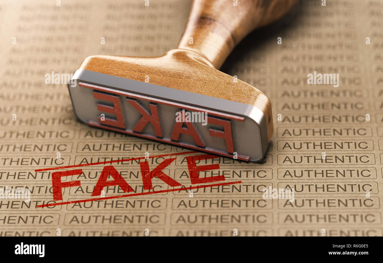 Rubber stamp and word fake printed on a paper background with the repeated text authentic. Concept of counterfeit or plagiarism. 3D illustration. - Stock Image