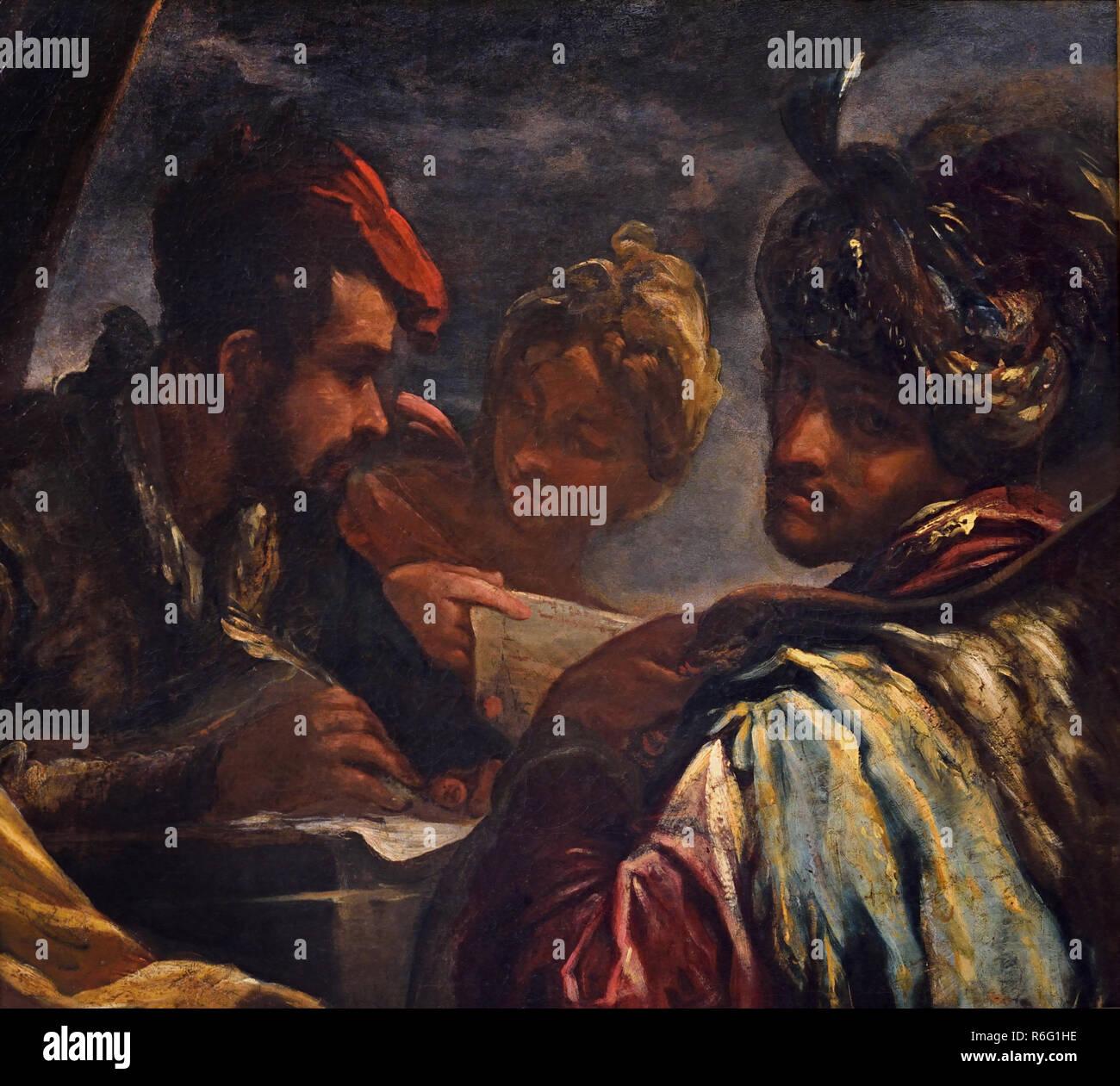Genre scene with three figures by Bernini Giovanni Antonio 1656-1727 17-18th century, Italy, Italian. - Stock Image