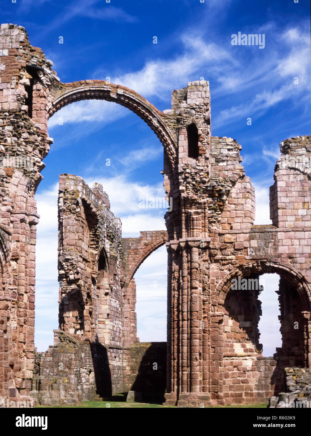 The Holy Island of Lindisfarne. Remains of the Norman Priory (from 1093 AD ).Northumberland. England. Stock Photo