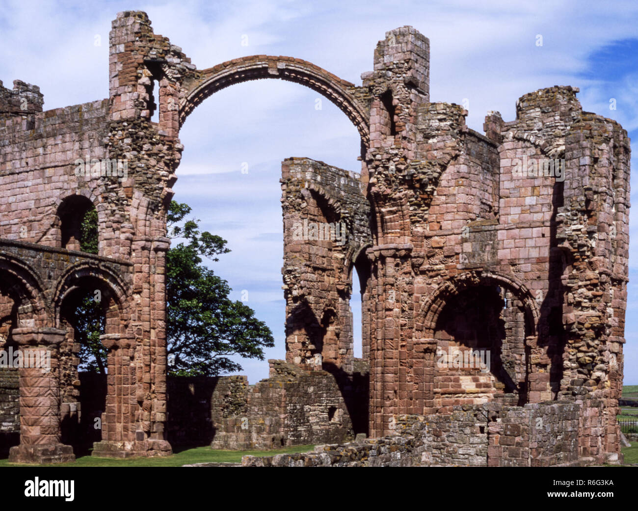 The Holy Island of Lindisfarne. Remains of the Norman Priory (from 1093 AD ).Northumberland. England. - Stock Image