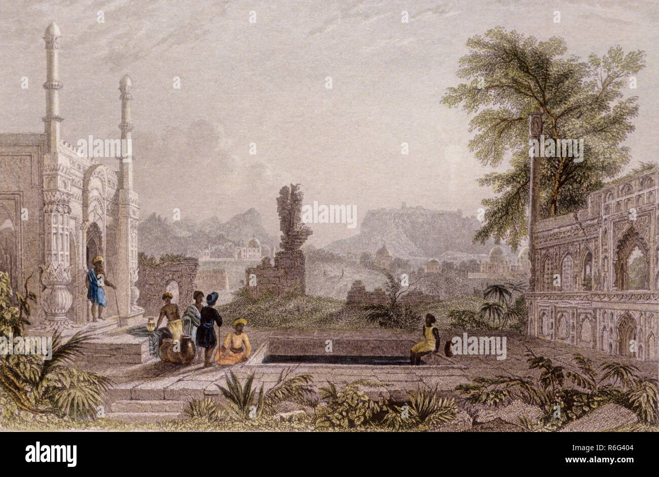 Lithograph, painting, old india - Stock Image
