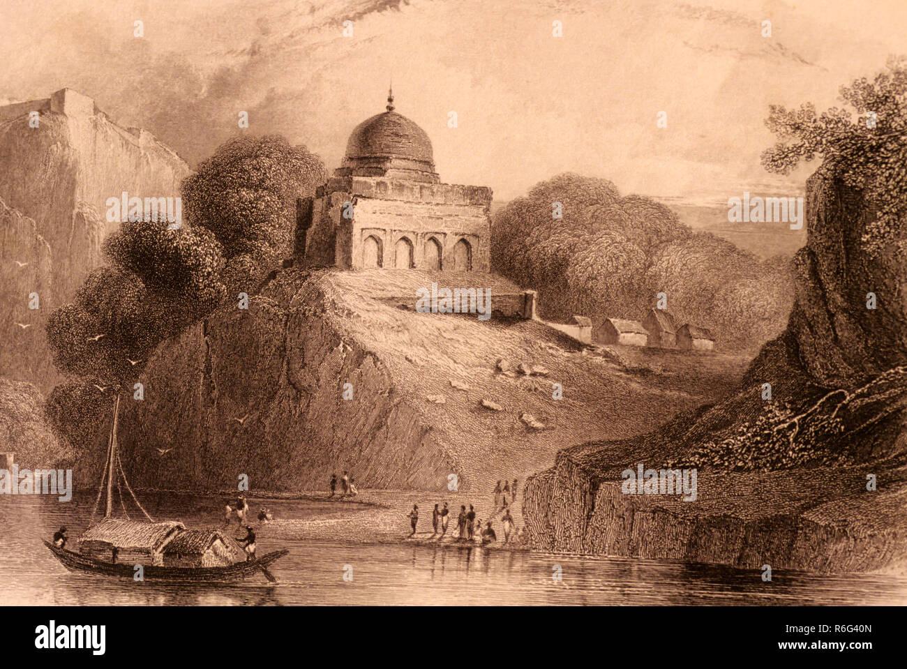 Lithograph, painting of bundelkhund, uttar pradesh, india - Stock Image