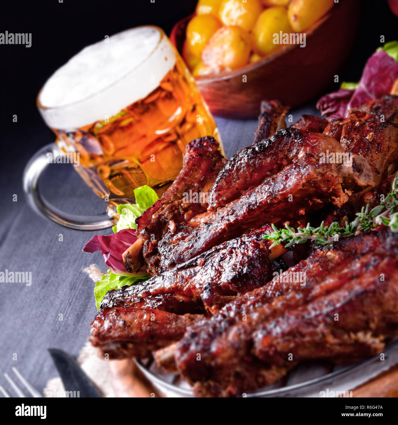 delicious bbq spareribs from the smoker - Stock Image