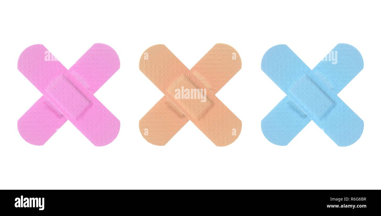 Various Colored Strips of ADHESIVE BANDAGES PLASTER - Medical Equipment Stock Photo