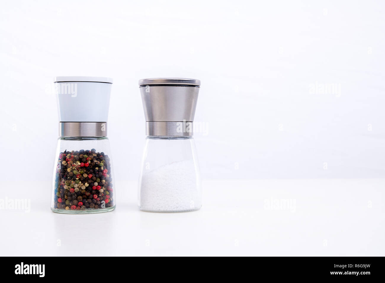 spice mills with salt and pepper - Stock Image