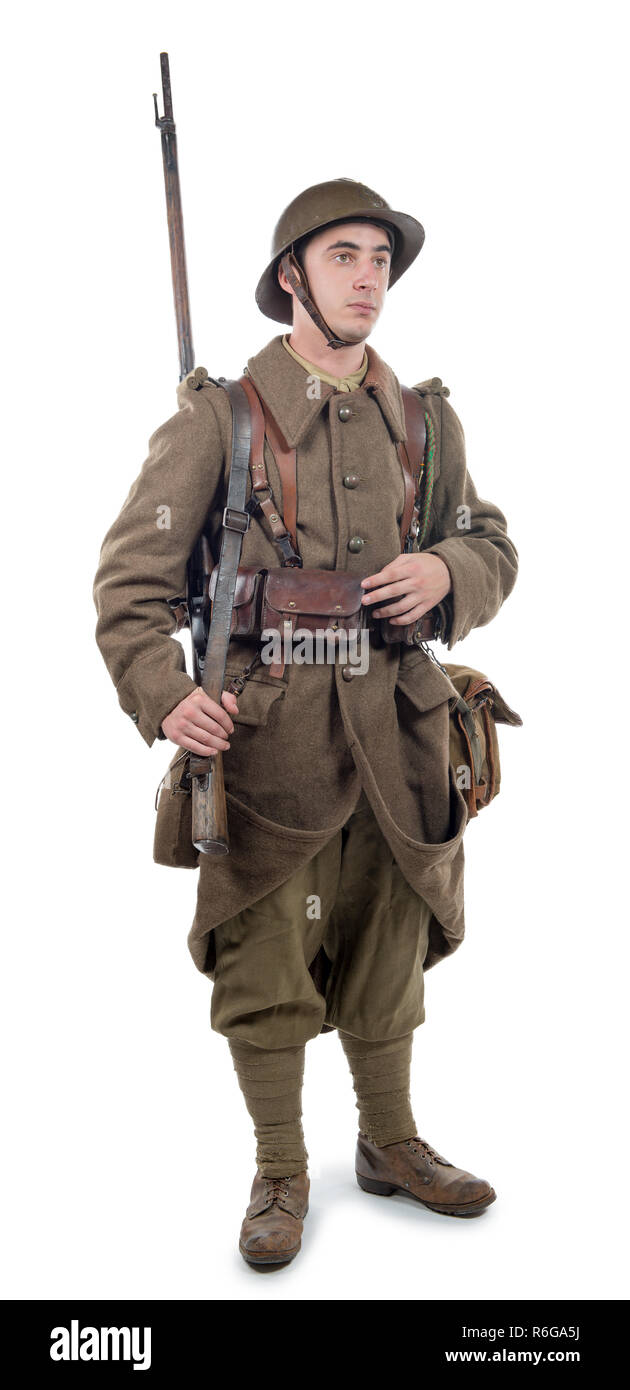 french soldier 1940 isolated on the white background Stock Photo