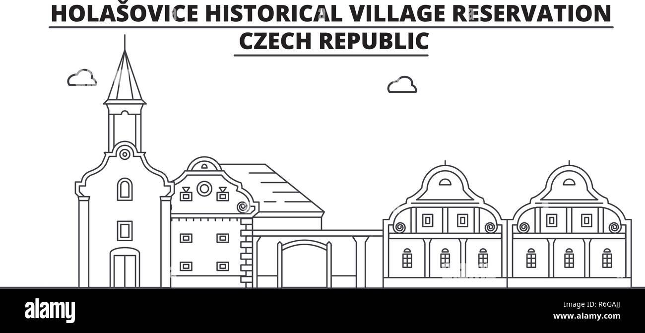 Czech Republic - Holasovice travel famous landmark skyline, panorama, vector. Czech Republic - Holasovice linear illustration - Stock Image