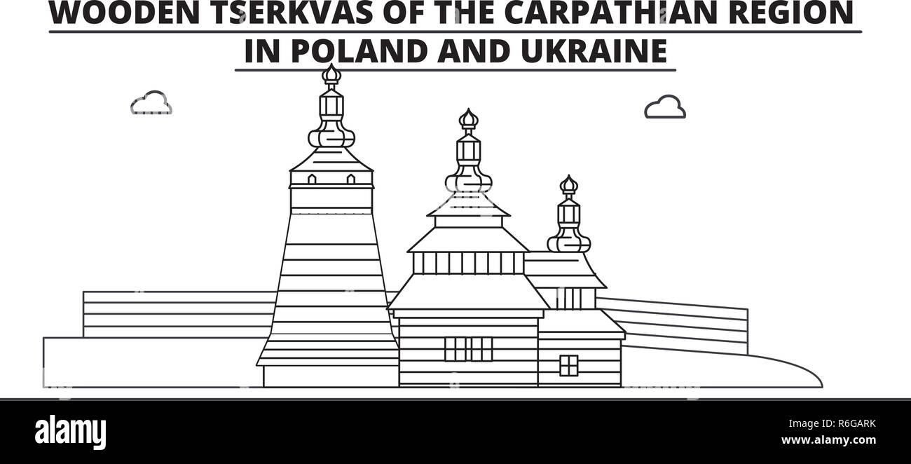 Poland - Wooden Churches In The Carpathian Mountain Area travel famous landmark skyline, panorama, vector. Poland - Wooden Churches In The Carpathian Mountain Area linear illustration Stock Vector