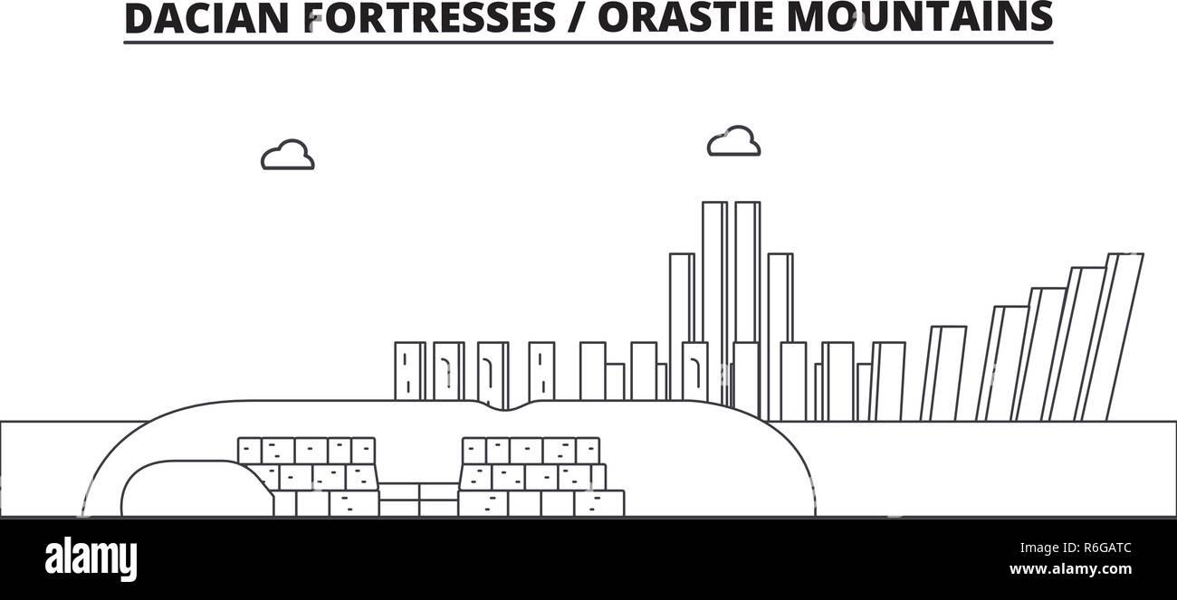 Romania - Dacian Fortresses, Orastie Mountains travel famous landmark skyline, panorama, vector. Romania - Dacian Fortresses, Orastie Mountains linear illustration Stock Vector