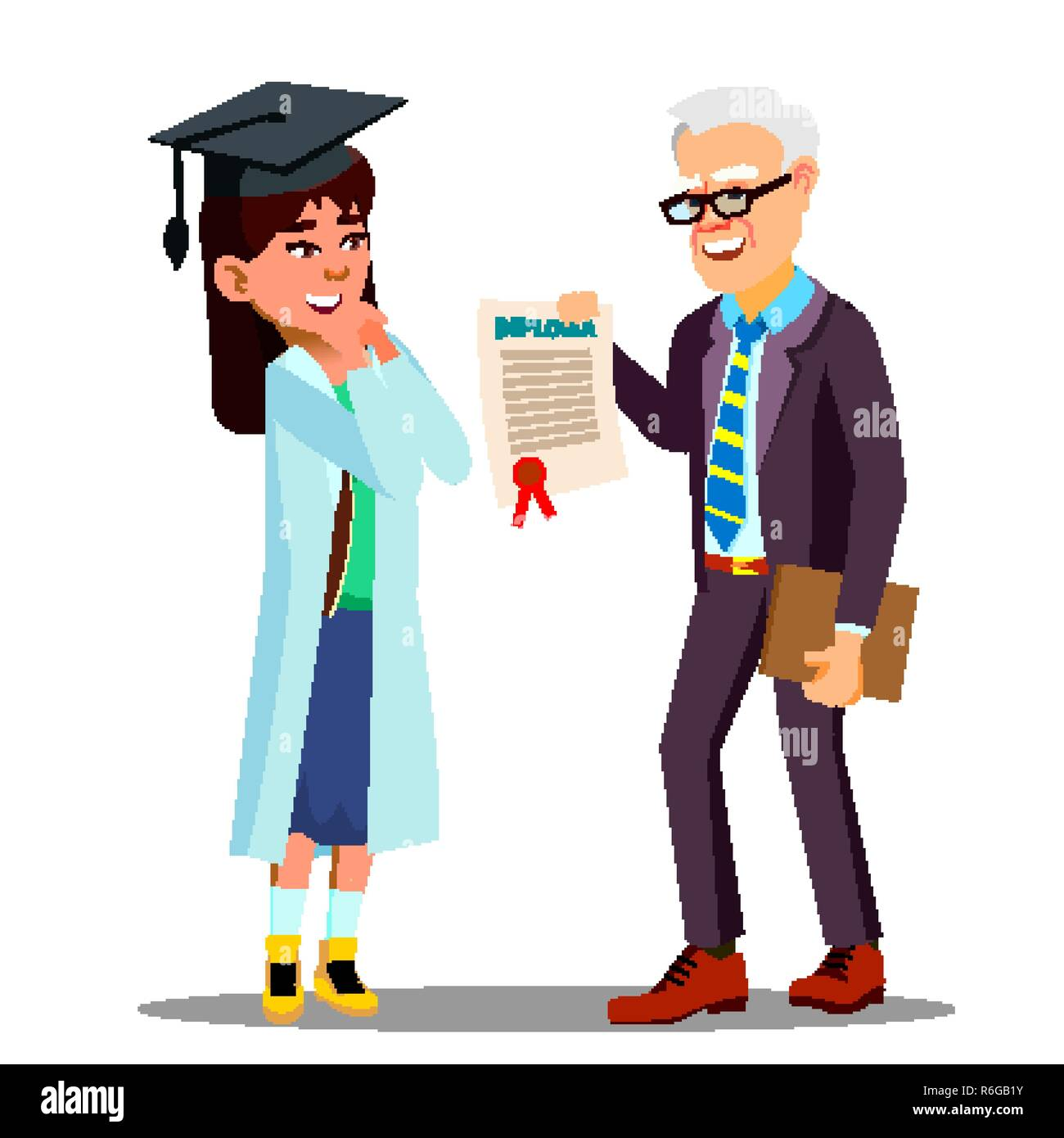 Asian Young Girl Student Doctor Receiving A Diploma Vector. Isolated Cartoon Illustration - Stock Image