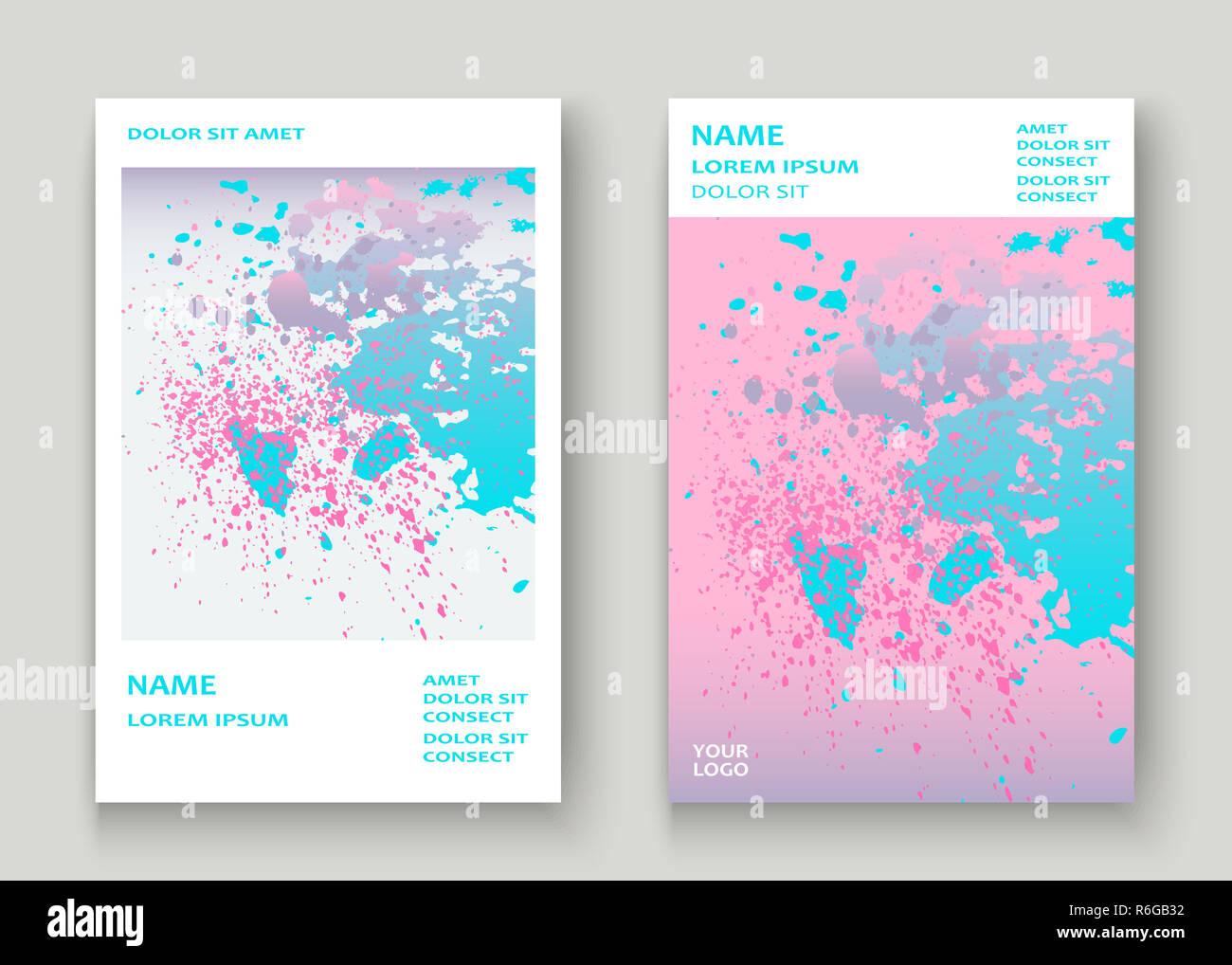 Pastel pink cyan explosion paint splatter artistic cover