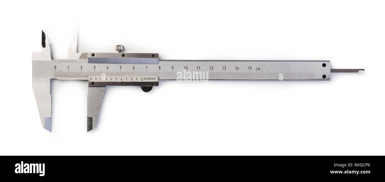 Vernier Caliper isolated on white background - Stock Image