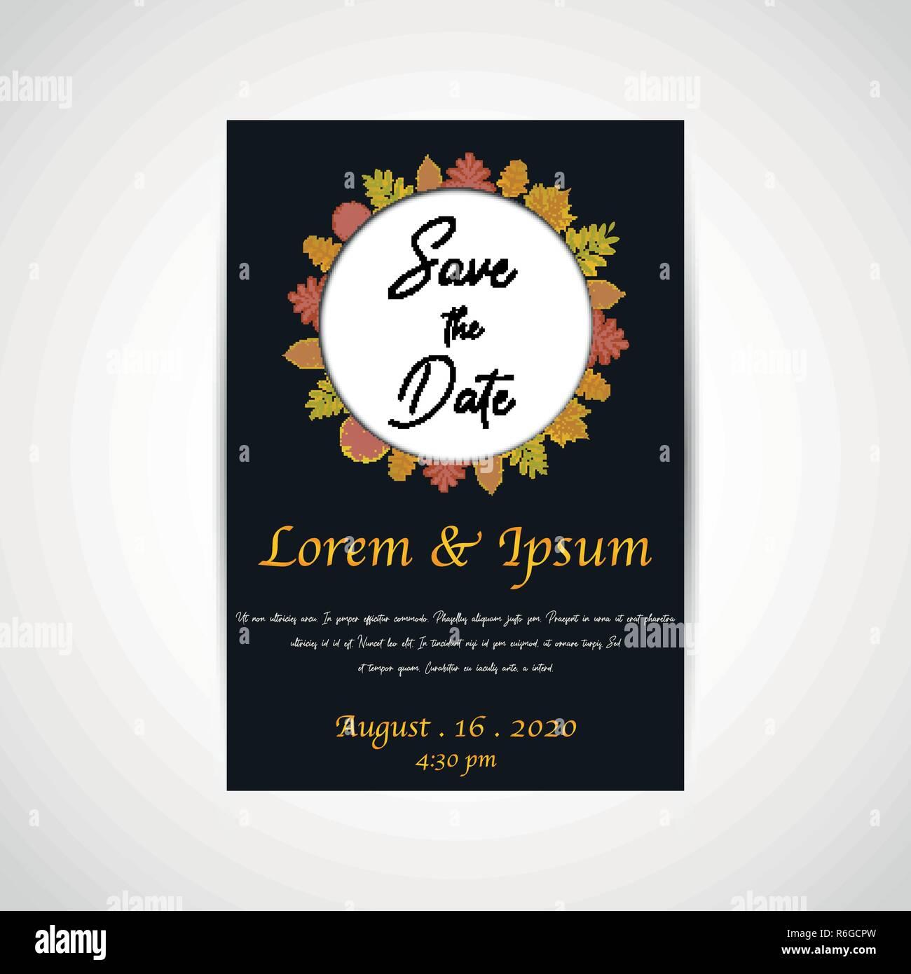 Wedding Save The Date Invitation Card Black Background