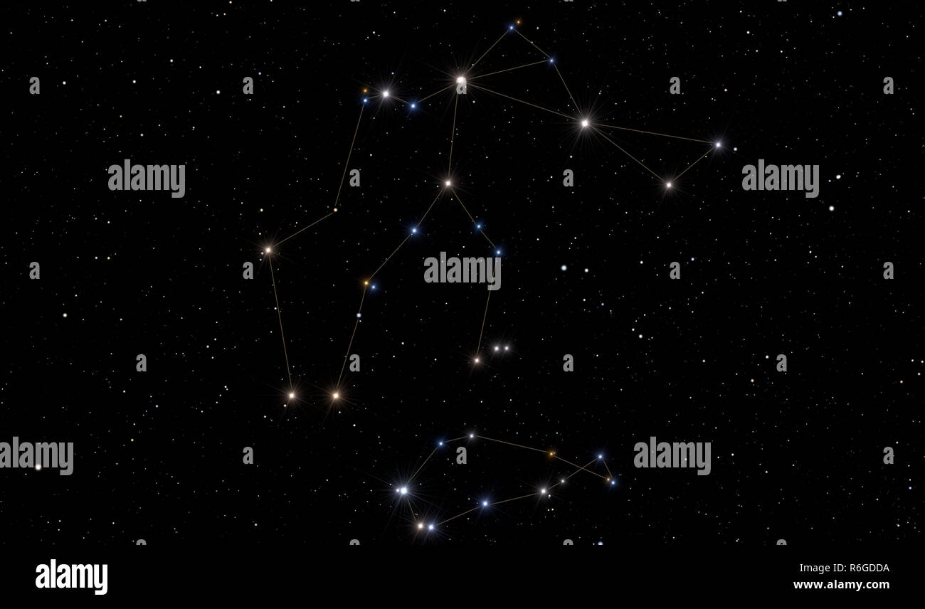 Image representing Aquarius constellation with the Southern Fish in the bottom. - Stock Image