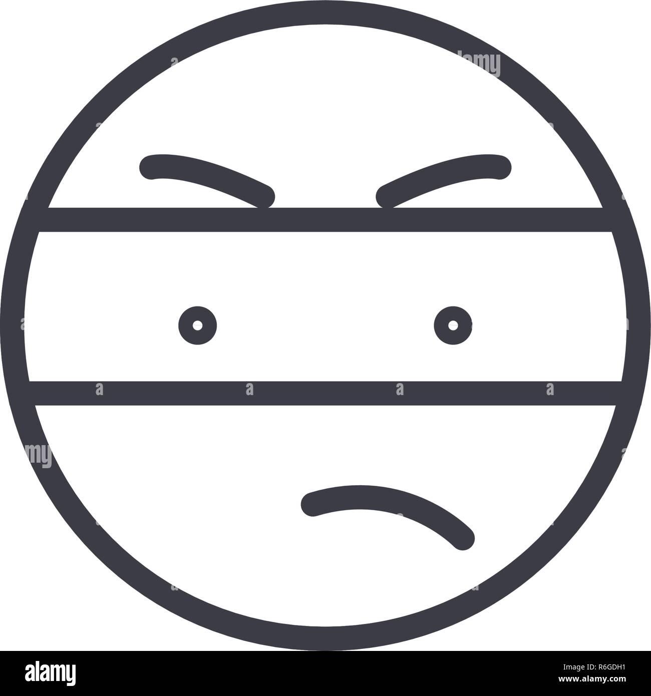 Spy Emoji concept line editable vector, concept icon. Spy Emoji concept linear emotion illustration - Stock Vector