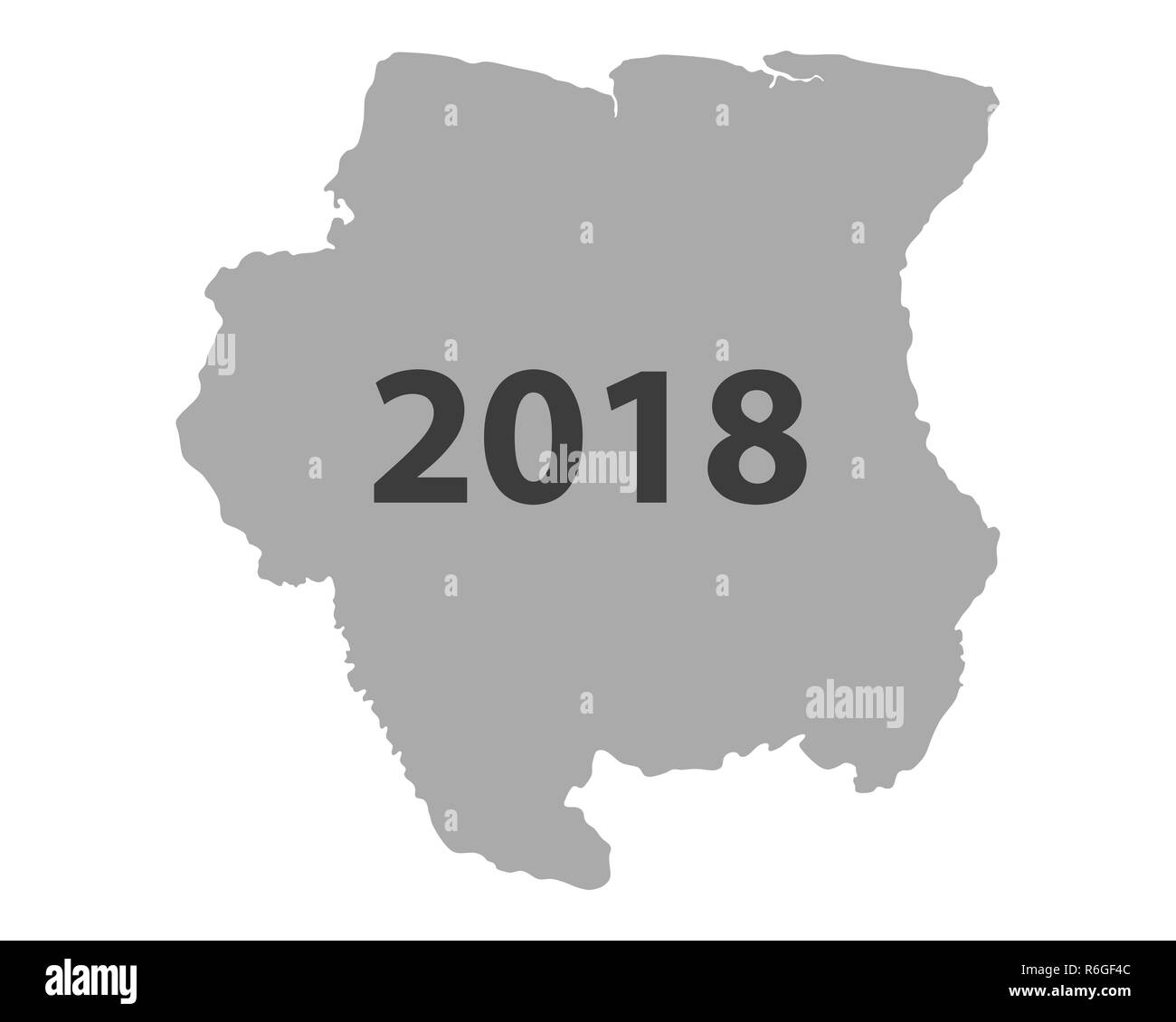 map of suriname 2018 - Stock Image